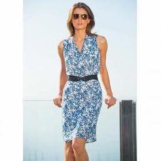 $26 Vestido laura clement - estampado, sin mangas, escote de pico cruzado - 100 poliéster