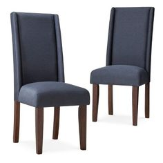 Charlie Modern Wingback Dining Chair Navy Set Of
