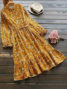 Floral printed elastic waist long sleeve vintage dresses in 21st Dresses, Modest Dresses, Stylish Dresses, Simple Dresses, Beautiful Dresses, Pretty Dresses, Casual Dresses, Halter Dresses, Modest Clothing