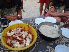 arroz con coco y langosta, comida preparada por una familia Kuna.