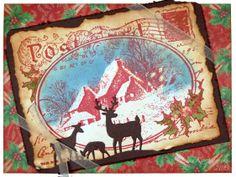 Stampendous Postcard stamp, Cottage Cutz deer die, Vintage Christmas card