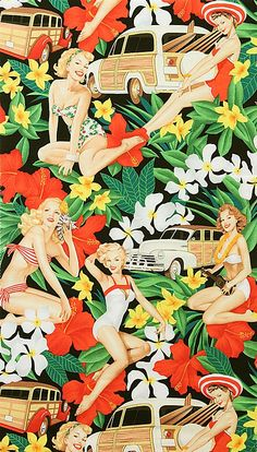 Aloha Girls Pin-Ups Surf Cotton Fabric by Alexander Henry