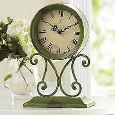 Gaston Antiqued Scrollwork Clock from Through the Country Door® Touch Of Gold, Pink And Gold, Behind The Green Door, Anne Of Green Gables, Spring Green, The Fresh, Shades Of Green, Color Inspiration, Green Colors