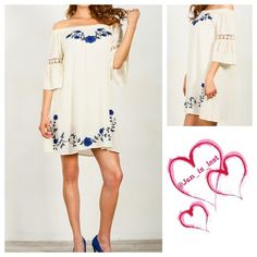 Floral Embroidered Dress Small Hello beautiful!  Floral embroidered, belled sleeve, crochet detail on sleeve, off the shoulder dress.  This is the dress!  Cotton blend. Color is Navy and white.  Woman's size. ❌No Trades ❌ Price is firm unless bundled. . Happy Poshing! Dresses