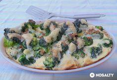 Rakott brokkoli egyszerűen és egészségesen   NOSALTY Paella, Cheeseburger Chowder, Vegetable Pizza, Quiche, Mashed Potatoes, Soup, Meals, Chicken, Baking