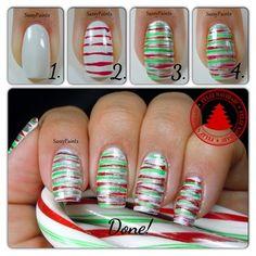 Easy Christmas Stripes Tutorial - Nail Art Gallery by nailsmag.com