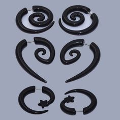 Cheater Gauges Spiral Taper Earrings Curved Horn fake faux ear gage Gothic 8mm