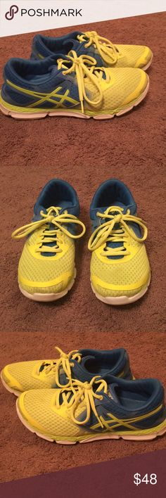 ASICS Sneakers Super cute and comfy ASICS Sneakers. Neon Yellow and blue in excellent condition. Only worn a few times. Size 9 great deal! 👍🏻 Asics Shoes Sneakers