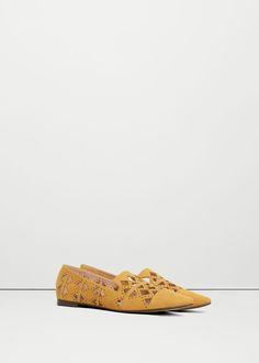 Туфли с перфорированным узором | MANGO МАНГО