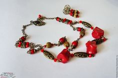 Купить Комплект украшений, колье и серьги с кораллом Lady in red - украшения ручной работы