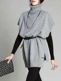 Light Gray Batwing Knitted Sweater with Belt - AdoreWe.com