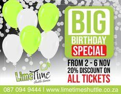 To say THANK YOU, we are running a BIG BIG Birthday special. From 2 to 6 November 2020 you will receive 25% discount on all tickets booked and paid for any future date. Don't miss this amazing birthday special. For Bookings, visit our website or contact us on 087 094 9444. #limetimeshuttle #our7thbirthday