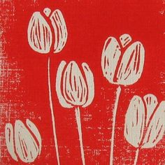 red tulip hand pulled linocut Stamp Carving, Wood Carving, Linoprint, Floral Logo, Doodle Designs, Tampons, Linocut Prints, Woodblock Print, Red Tulips