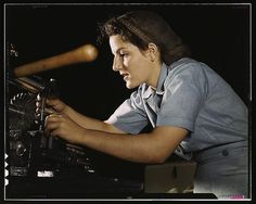 Mary Louise Stepan, 21, used to be a waitress. She has a brother in the air corps. She is working on transport parts in the hand mill, Consolidated Aircraft Corp., Fort Worth, Texas (LOC), via Flickr.