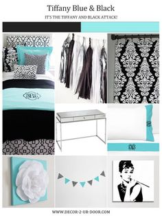 Tiffany Blue and black Sorority and Dorm Room Bedding and Decor