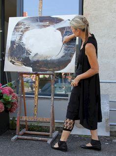 Stippvisite vom Fernseh-Team an der Kunstakademie La Cuna del Arte in meinem Kurs White painting!