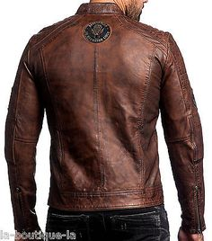 Affliction Black Premium - FATAL HOUR - Men's Leather Biker Jacket - NEW - Brown