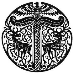 The symbol of the Irminsul of the pagan German tribes. Notice the two stags flanking it, while sitting on top is a bird of prey—maybe a Turul Bird? May be one of the first Political symbols.
