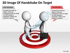3d image of handshake on target ppt graphics icons powerpoint Slide01