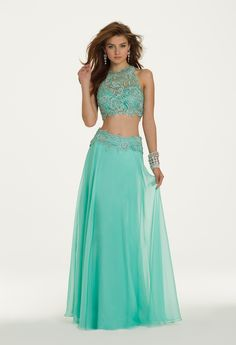 Camille La Vie Two-Piece Venetial Lace Long Prom Dress