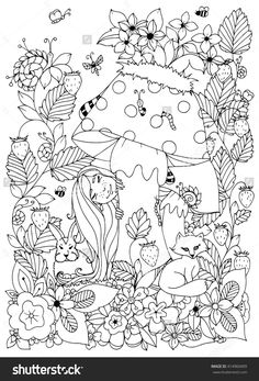 Vector illustration Zen Tangle girl with freckles hid behind a mushroom. Doodle flowers, forest animals. Coloring book anti stress for adults.  Black and white.