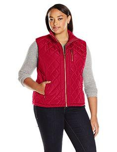 Calvin Klein Women's Plus Size Center Zip Quilted Vest, R-$24.93