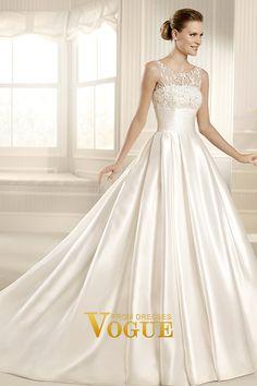 2013 Wedding Dresses A Line Scoop Chapel Train Satin USD 660.00 PT8P2D7C - VoguePromDresses