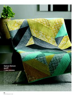 I like the straight line quilting on this one - use for one of the square quilts.  Modern Patchwork, Winter 2014 Big Block Quilts, Scrappy Quilts, Quilt Inspiration, Modern Quilt Patterns, Modern Quilt Blocks, Modern Quilting Designs, Green Quilt, Quilt Stitching, Longarm Quilting