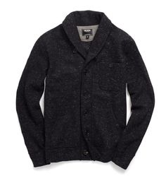 TODD SNYDER: SHAWL KNIT CARDIGAN IN BLACK