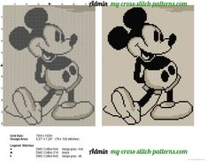 Mickey Mouse old style cross stitch pattern - free cross stitch patterns simple unique alphabets baby Free Cross Stitch Charts, Disney Cross Stitch Patterns, Cross Stitch Freebies, Cross Stitch Baby, Cross Stitch Designs, Cross Stitching, Cross Stitch Embroidery, Mickey Mouse, Stitch Cartoon