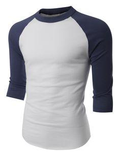 LE3NO Mens Vintage Crew Neck 3/4 Sleeve Raglan T Shirt