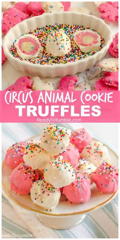 """Circus Animal Cookie Truffles – Ready to Yumble alt=""""Circus Animal Cookie Truffles are a fun and colorful no-bake dessert, with a pink-and-white layered surprise inside! Candy Recipes, Sweet Recipes, Baking Recipes, Cookie Recipes, No Bake Recipes, Köstliche Desserts, Delicious Desserts, Yummy Food, Dessert Recipes"""