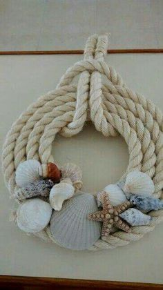 Could do smaller twine with seashells attached for Christmas ornaments | Beach art and sea glass | Летний венок, Рождественские узоры и Пляжи