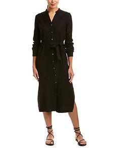 Shirt dresses always look more sophisticated than one thinks and soooo comfortable. - Rue La La — Three Dots Linen Maxi Shirtdress