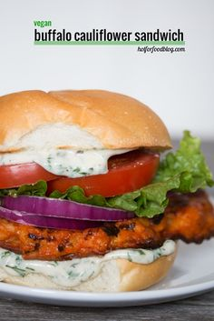 the #vegan #buffalocauliflower sandwich | RECIPE on hotforfoodblog.com