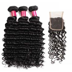 10A	virgin Brazilian deep wave	hair extensions 3bundles with closure natural black $60.71