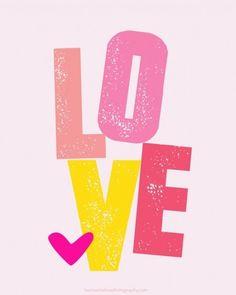 Free Printable Love Art Print for Big Girl Room | Ashley Hackshaw / lilblueboo.com