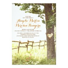 Country Wedding Invitations rustic country heart tree wedding invitation
