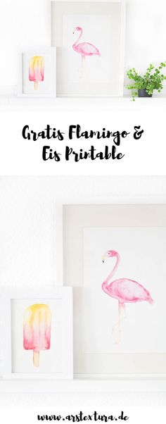 Gratis Flamingo und Eis Printable in Aquarell Malerei zum download