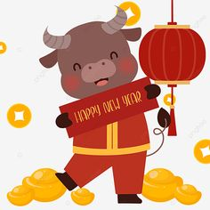 Chinese New Year Design, Chinese New Year Crafts, Chinese New Year 2020, Happy Chinese New Year, Year Of The Cow, New Year Cartoon, Cow Illustration, Chinese New Year Decorations, New Year Art