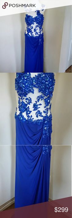 🆕 Royal Queen Collection This beautiful, sexy, classy dress is embroided on mesh. All sequins are tacted. A little short in the front and long in the back, it sweeps. The color is royal blue, and worn only once. Zipper on the side.  Measurements as follows:  108 cm bust 150 length front 165 back 138 hip 94 waist royal queen Dresses Wedding