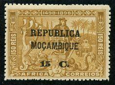 "Mozambique  1913 Scott 140 15c on 150r bister  ""Vasco da Gama"" On stamps of Portuguese Africa"