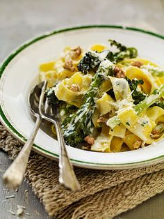 Pappardelle makes a fantastic pasta dish which can be varied using seasonal ingredients; we've added purple sprouting broccoli to this creamy dish Veggie Pasta Recipes, Creamy Pasta Recipes, Broccoli Recipes, Vegetable Recipes, Veggie Dinners, Gnocchi Recipes, Vegetarian Dinners, Savoury Recipes, Meal Recipes