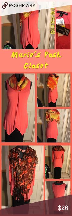 Orange Top Adorable top in coral with pointed scoop neck and front flap. Super cute, asymmetric hem. Looks great with colorful scarf or necklace accents. All accent items available for sale in my closet as of this listing. Cable & Gauge Tops