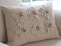 Thanksgiving Decor Fabric Flowers Button Centers Pillow Natural Osnaburg Cotton. $34.00, via Etsy.