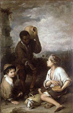 """""""Tres muchachos"""" es una obra que fue realizada aproximadamente sobre el año 1670. El autor de ésta obra es Bartolomé Esteban Murillo."""