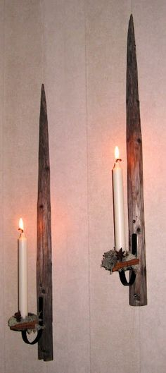 Old Scandinavian hay poles as candleholders Wood Ideas, Candle Sconces, Lanterns, Upcycle, Recycling, Candle Holders, Wall Lights, Arts And Crafts, Xmas