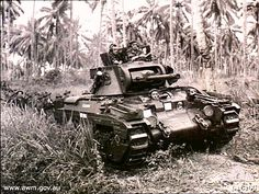 Infantry Tank Mark II Matilda II of Australian Armoured Brigade ploughing ahead towards the battle area in an effort to drive the Japanese out of strongposts held near the Finschhafen area - General Motors, Matilda, Ww2 Panzer, Anzac Soldiers, Ww2 Pictures, Ww2 Photos, Military Pictures, Armored Fighting Vehicle, Ww2 Tanks