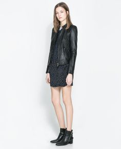Image 1 of QUILTED LEATHER JACKET from Zara