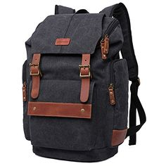 ca77ec721e GINGOOD Mens Backpacks Vintage Canvas Rucksack with Large Capacity for  Outdoor Hiking College     Check this awesome image   Travel Backpack